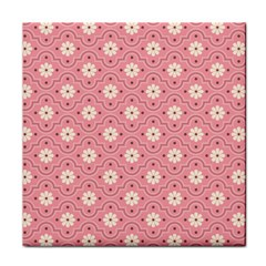 Sunflower Star White Pink Chevron Wave Polka Tile Coasters