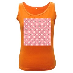 Sunflower Star White Pink Chevron Wave Polka Women s Dark Tank Top