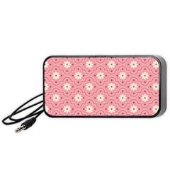 Sunflower Star White Pink Chevron Wave Polka Portable Speaker (Black)