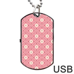 Sunflower Star White Pink Chevron Wave Polka Dog Tag USB Flash (Two Sides)