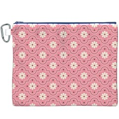 Sunflower Star White Pink Chevron Wave Polka Canvas Cosmetic Bag (XXXL)