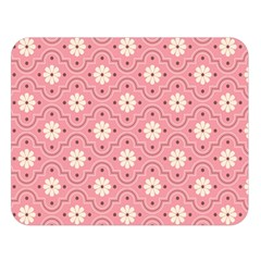 Sunflower Star White Pink Chevron Wave Polka Double Sided Flano Blanket (Large)
