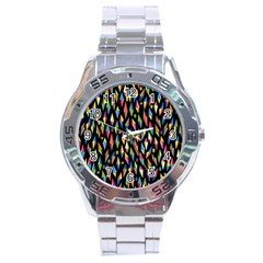 Skulls Bone Face Mask Triangle Rainbow Color Stainless Steel Analogue Watch