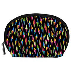 Skulls Bone Face Mask Triangle Rainbow Color Accessory Pouches (large)