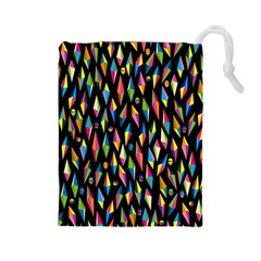 Skulls Bone Face Mask Triangle Rainbow Color Drawstring Pouches (Large)
