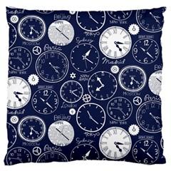 World Clocks Large Flano Cushion Case (Two Sides)