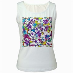 Lilac Lillys Women s White Tank Top