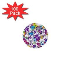 Lilac Lillys 1  Mini Buttons (100 pack)
