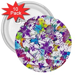 Lilac Lillys 3  Buttons (10 pack)