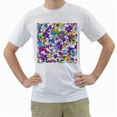 Lilac Lillys Men s T-Shirt (White) (Two Sided)