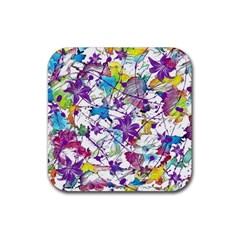 Lilac Lillys Rubber Square Coaster (4 pack)