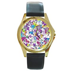 Lilac Lillys Round Gold Metal Watch