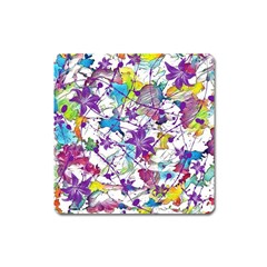 Lilac Lillys Square Magnet