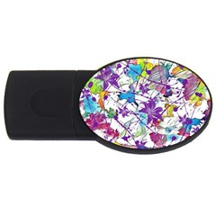 Lilac Lillys USB Flash Drive Oval (2 GB)