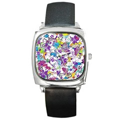 Lilac Lillys Square Metal Watch