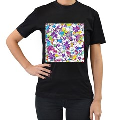 Lilac Lillys Women s T-Shirt (Black) (Two Sided)