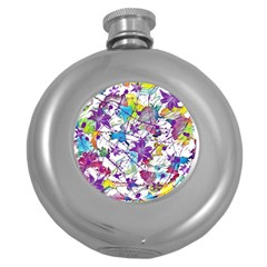 Lilac Lillys Round Hip Flask (5 oz)
