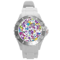 Lilac Lillys Round Plastic Sport Watch (l)