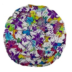 Lilac Lillys Large 18  Premium Flano Round Cushions