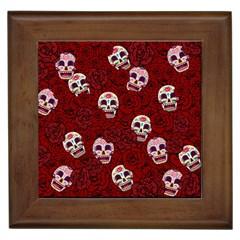 Funny Skull Rosebed Framed Tiles