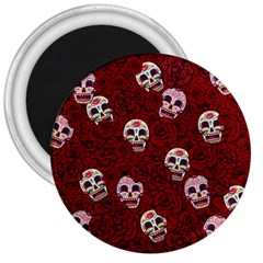Funny Skull Rosebed 3  Magnets
