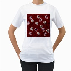 Funny Skull Rosebed Women s T-Shirt (White) (Two Sided)