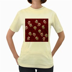 Funny Skull Rosebed Women s Yellow T-Shirt