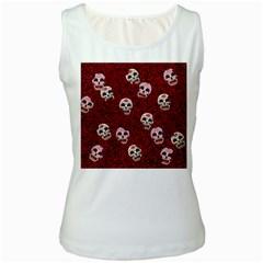 Funny Skull Rosebed Women s White Tank Top