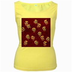 Funny Skull Rosebed Women s Yellow Tank Top