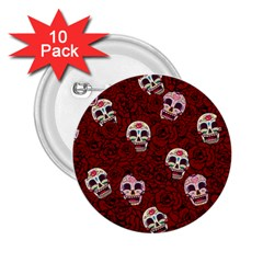 Funny Skull Rosebed 2.25  Buttons (10 pack)