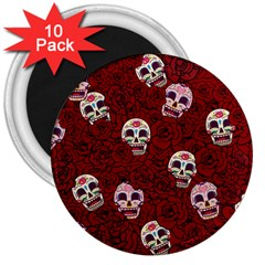 Funny Skull Rosebed 3  Magnets (10 pack)