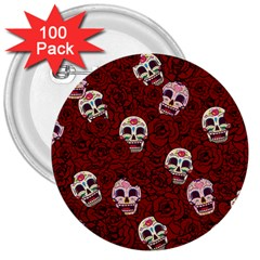 Funny Skull Rosebed 3  Buttons (100 pack)