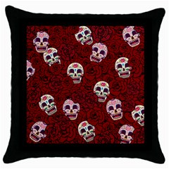 Funny Skull Rosebed Throw Pillow Case (Black)