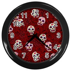 Funny Skull Rosebed Wall Clocks (Black)