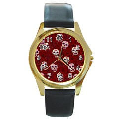 Funny Skull Rosebed Round Gold Metal Watch