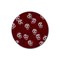 Funny Skull Rosebed Rubber Round Coaster (4 pack)