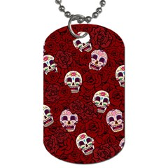 Funny Skull Rosebed Dog Tag (One Side)