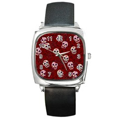 Funny Skull Rosebed Square Metal Watch