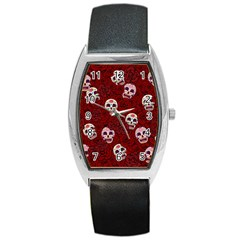 Funny Skull Rosebed Barrel Style Metal Watch