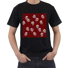 Funny Skull Rosebed Men s T-Shirt (Black) (Two Sided)