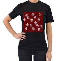 Funny Skull Rosebed Women s T-Shirt (Black) (Two Sided)