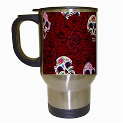 Funny Skull Rosebed Travel Mugs (white)