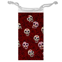Funny Skull Rosebed Jewelry Bag