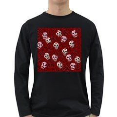 Funny Skull Rosebed Long Sleeve Dark T-Shirts