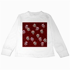 Funny Skull Rosebed Kids Long Sleeve T Shirts