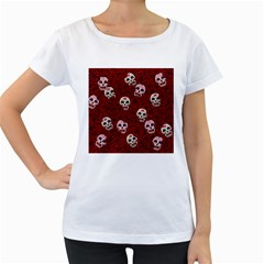 Funny Skull Rosebed Women s Loose Fit T Shirt (white)