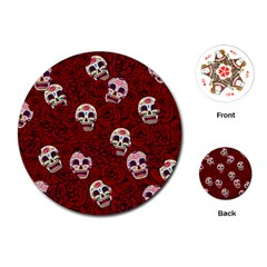 Funny Skull Rosebed Playing Cards (Round)