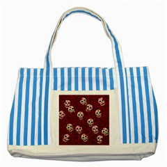 Funny Skull Rosebed Striped Blue Tote Bag