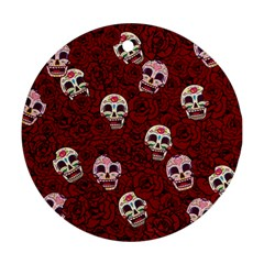Funny Skull Rosebed Round Ornament (Two Sides)