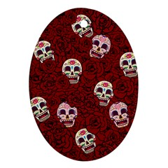 Funny Skull Rosebed Oval Ornament (two Sides)